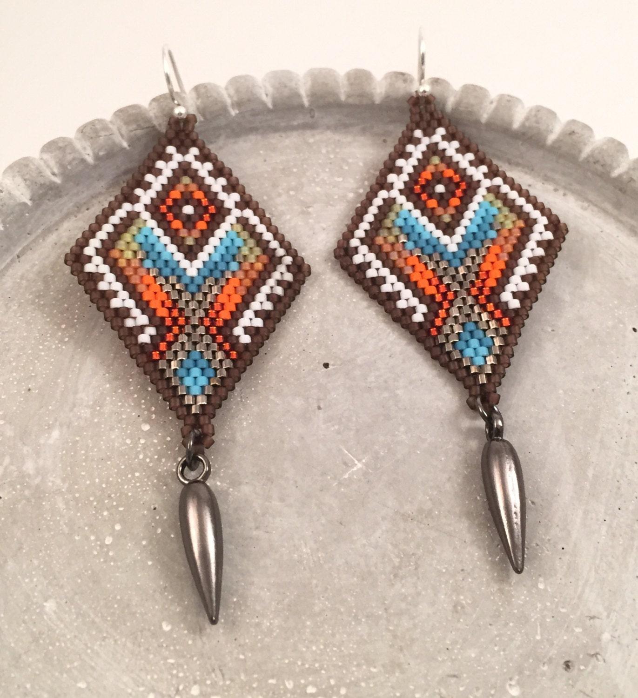 Beaded Diamond: Colorful Seed Beaded Diamond Dangle & Drop Earrings
