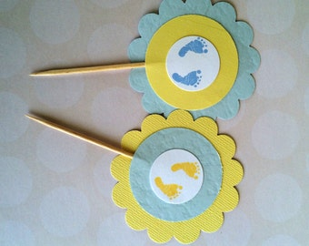 baby shower boy cupcake toppers, little footprints cupcake toppers, blue and yellow babyshower