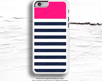 iPhone 7 Case Navy & Pink Stripes iPhone 7 Plus iPhone 6s Case iPhone SE Case iPhone 6 Case iPhone 6s Plus iPhone iPhone 5S Case C58