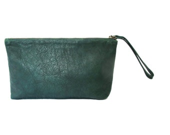 Bottle green leather clutch - leather wristlet clutch - evening clutch SALE leather clutch purse- zipper clutch- handmade leather clutch bag