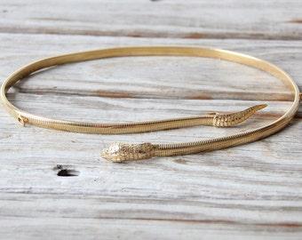 Gold Snake Head & Tail Elastic Belt