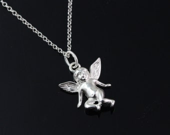 925 Sterling silver angel Necklace, Silver angel necklace, sterling angel pendant on a sterling silver chain. 3D angel pendant