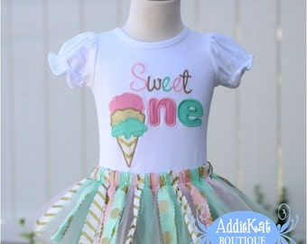 Personalized Ice Cream Cone Sweet One Gold, Mint, Light Pink Fabric Birthday Tutu Outfit