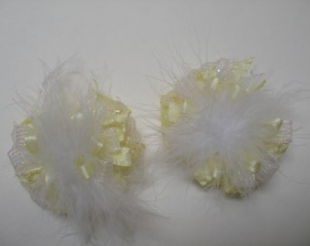 TWO Glistening Baby Pastel Yellow Marabou Princess Glitz Pig Tail Hair Bows Toddler Girl Set of 2