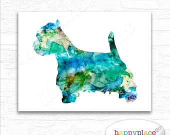 Turquoise & Aqua West Highland White Terrier Breed Dog Print as digital printable. West highland terrier print, watercolor dog poster art