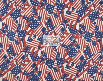 """Packed Retro US Flags 100% Cotton Fabric - 45"""" Width Sold By The Yard (FH-116)"""