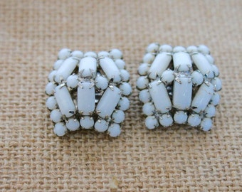 Vintage White Milk Glass Earrings, Clip on Style, Costume Jewelry, Circa 1960's