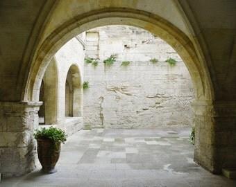 Garden Courtyard of Shadow and Light, France Photography, Garden, Travel Photography, Art Print, Wall Decor