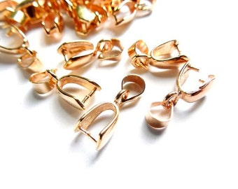 8 Rose Gold Plated Pinch Bails - 16-RG-6