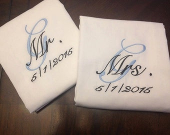 Monogrammed Mr. and Mrs. Pillowcases with date