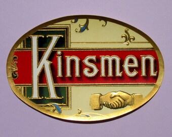 Vintage Original Cigar Label Kinsmen Brand with Two Embossed Shaking Hands and Lettering, Metallic Gold Border, for Decoupage or Scrapbooks