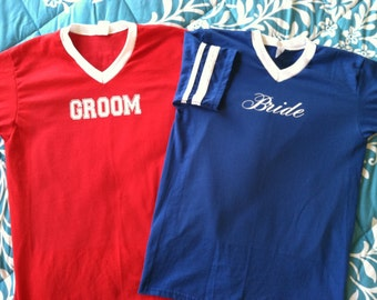 Bride and Groom Red White and Blue Couples Jersey T-shirts