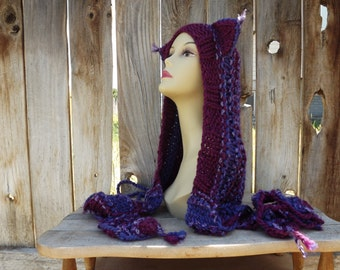 Custom - Cat Hood with Attached Scarfs - Hoodie - Scoodie - Spirit - Cosplay -  Festival - Shades of Purples - Hand Knit - Wool Blend