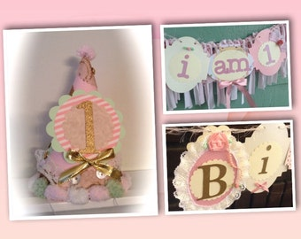 Shabby chic vintage Birthday Party Set total party package