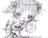 INSTANT DOWNLOAD Digital Digi Stamps..by Chrishanthi's art ''Fifi cat''.