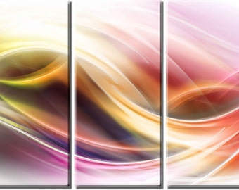 Framed Huge 3-Panel Abstract Elegant Flow Canvas Art Print - Ready to Hang