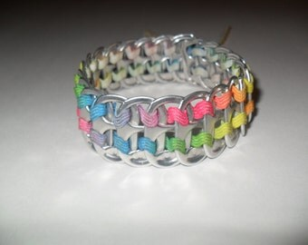 Upcycled Soda Can Tab & Zig Zag Ribbon Bracelet! Rainbow! Colorful and Fun!