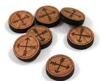 Laser Cut Supplies-8 Pieces.Tribal Arrow Charms -Laser Cut Wood Arrows -Earring Supplies- Little Laser Lab Sustainable Wood Products
