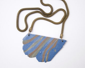 Abstract Unique Blue Pendant. Handmade Blue Stoneware Necklace. Modern Pendant. Boho Jewelry. Blue and Brown Stoneware.