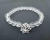 Clear quartz crystal bracelet Sterling silver lotus bracelet mala Chakra balancing bracelet Yoga meditation beads April birthstone bracelet