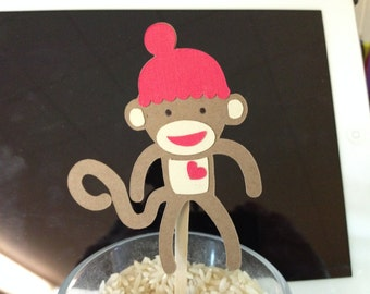 Sock Monkey Cupcake Toppers/Jungle/Baby Shower/Zoo Theme Party