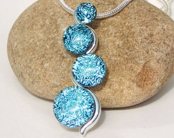Turquoise Dichroic Glass Multi Cab Pendant - Fused Glass Jewelry - Blue Glass Snake Necklace