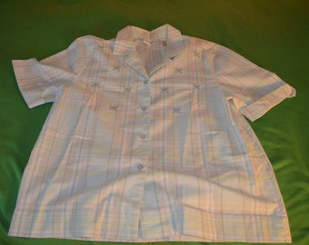 ON SALE  Vintage Blue Plaid Blouse by Alfred Dunner in Size 10