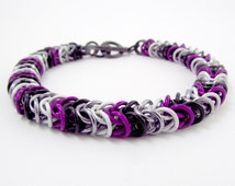 Asexual bracelet - Box Chain / Inca Puno Weave Chainmaille - Handmade Black Grey White Purple Chainmail Bracelet