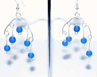 Silver Plated Drop Earrings, Beaded Earrings