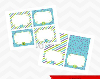 INSTANT DOWNLOAD - Monsters Inc Labels and Tents