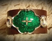 After Life Accessories Repurposed Brown Leather Cuff Silver & Green  Statement Bracelet