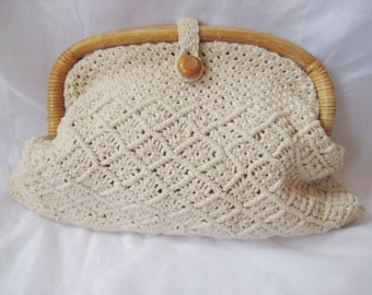 Off white macrame clutch, evening clutch, Mister Ernest handbag, vintage clutch