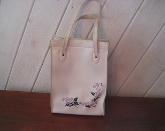 Off white faux leather lunch bag, purse, top handle handbag, 60s 70s ivory vinyl purse