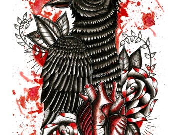 Neo Traditional Crow, Heart and Roses A4 Matt tattoo flash art print/illustration/design ink drawing.