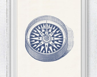 Compass no2 in blue - Nautical print poster - sea life tools print- Vintage illustration sea life SPN013