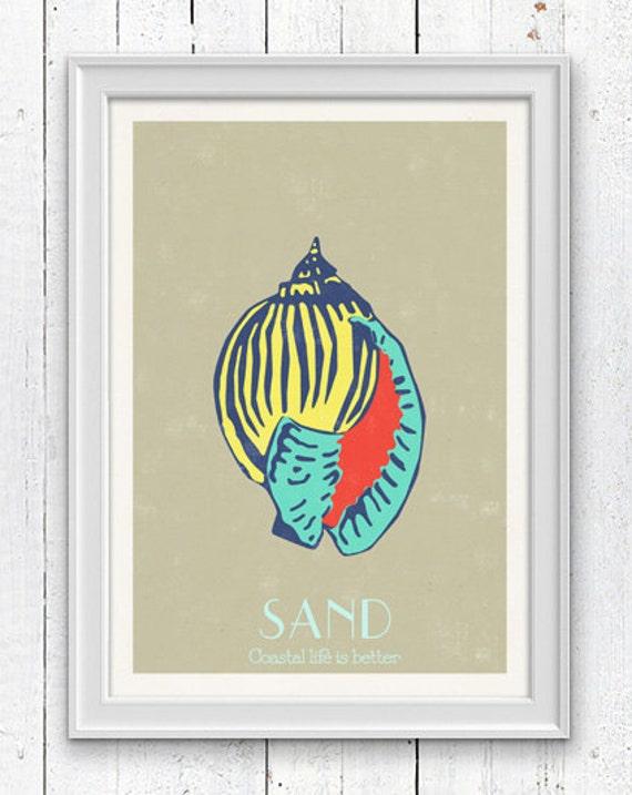 Sea Shell-Sand Pop Art -  Sea life print - seashells wall art home decor -A 4 print SPS016