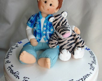 Fully Customised Baby boy with Zebra Toy First Birthday Baby cake topper - Baby boy Cake Topper