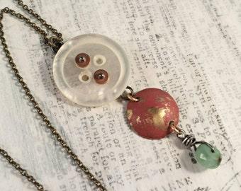 Vintage Button Necklace - Vintage Shell Button Chrysophrase Brass