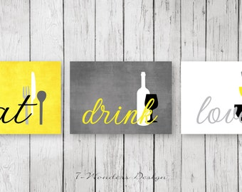 Kitchen Wall Art Print Set Eat Drink Love Yellow Grey Black