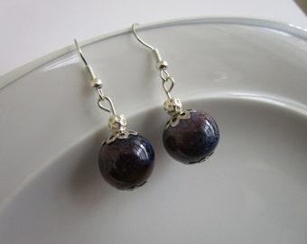 Semi precious stone earrings - Lapis Lazuli Earrings - Dangle Earring - lapiz lazuli dangle - dark grey/blue round lapis lazuli earrings