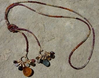 Tunduru, Gemstone Bead Lariat, Lariat Necklace, Gemstone Necklace, Gemstone Jewelry, Garnet Necklace, Garnet Jewelry, Mozambique Garnet