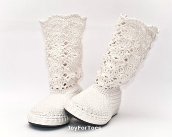 Wedding Crochet Shoes White Lace Boots Rustic Weddings READY TO SHIP US7 UK5 EUR38 Bride Cotton
