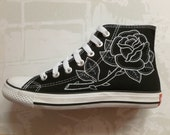 Custom Converse Traditional Rose Tattoo Handpainted Shoes Cons All Star