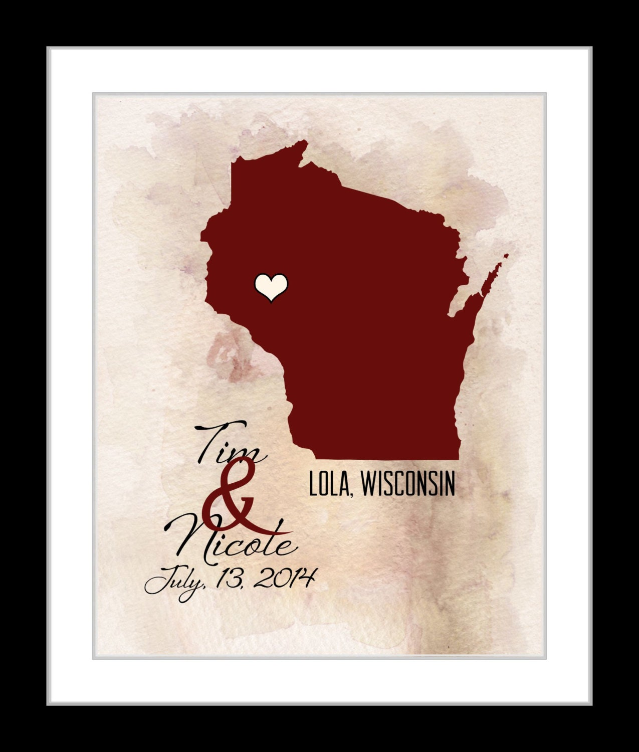 Wedding Gift Personalized Art : Personalized Wisconsin Wedding Gift Art Map Print For Him or