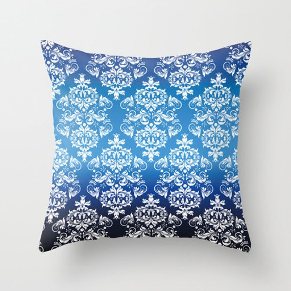 Royal blue pattern pillow cover retro pillow throw pillow for Royal blue couch pillows