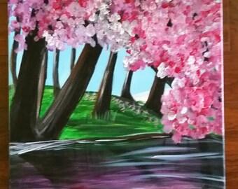 Tree blossom lake
