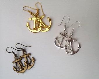 Nautical Anchor Hanging Earrings You Choose Silver, Bronze or Gold