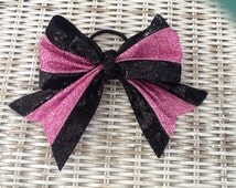Glitter Cheer Bow- Black & Pink, Cheerleading Bow, Cheer Bow, Ponytail Bow, Ponytail Holder, Girls Hair Bow, Girls Hair Accessory