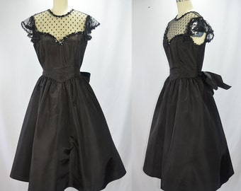 1980s Does the 1950s Gunne Sax Black Taffeta, Net, and Sequin Party Dress