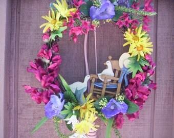Shabby chic bird and Flower wreath/Floral wreath/Spring chic wreath/Chic door wreath/Shabby chic wreath/Summer Door decor/Mothers day wreath